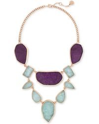 Vince Camuto - Rose Gold-tone Purple And Blue Stone Statement Necklace - Lyst