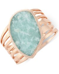 Vince Camuto - Rose Gold-tone Large Green Stone Cuff Bracelet - Lyst