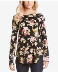 Karen Kane - Long-sleeve Floral-print T-shirt - Lyst