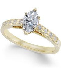 Macy's - Diamond Miracle-plate Marquise Shape Engagement Ring (3/8 Ct. T.w.) In 14k Gold - Lyst
