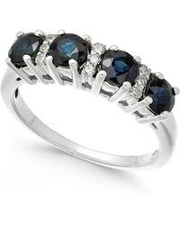 Macy's - Sapphire (1-1/3 Ct. T.w.) & Diamond (1/10 Ct. T.w.) Ring In 14k White Gold - Lyst