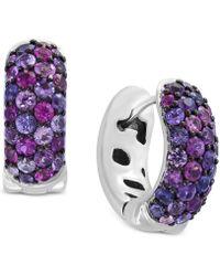 Effy Collection - Splash By Effy® Purple Sapphire Hoop Earrings (2-1/4 Ct. T.w.) In Sterling Silver - Lyst