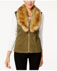 Vintage America - Faux-fur-collar Zip-front Vest - Lyst