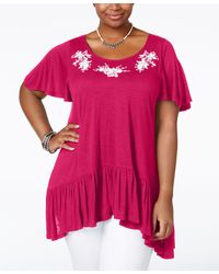 American Rag - Trendy Plus Size Embroidered Handkerchief-hem Top, Only At Macy's - Lyst
