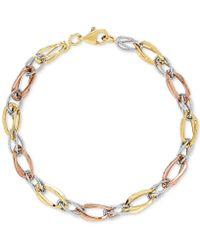 Macy's - Tricolor Polished & Textured Open Link Bracelet In 10k Gold, White Gold & Rose Gold - Lyst