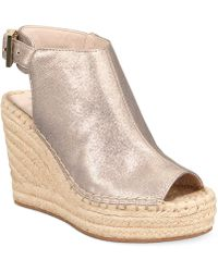 fcae7d86aba Lyst - Phase Eight Lana Peep Toe Espadrille Wedge Shoes in Natural