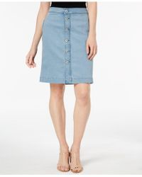 Style & Co. - Petite Button-front Denim Midi Skirt, Created For Macy's - Lyst
