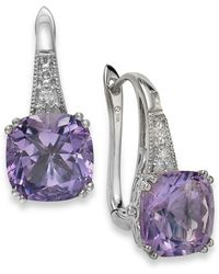 Macy's - Amethyst (5-3/4 Ct. T.w.) And Diamond Accent Leverback Earrings In 14k White Gold - Lyst