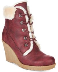 Mojo Moxy - Dolce By Fresco Lace-up Wedge Booties - Lyst