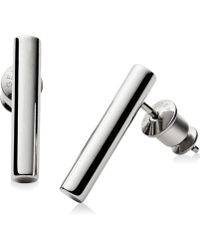 Skagen   Silver-tone Tubular Bar Stud Earrings Skj0891   Lyst