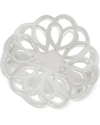 Touch Of Silver - Filigree Flower Statement Ring In Silver-plate - Lyst