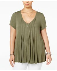 American Rag - Trendy Plus Size Pintucked Swing Top, Only At Macy's - Lyst