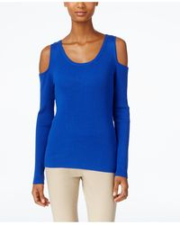 Eci - Ribbed-knit Cold-shoulder Sweater - Lyst