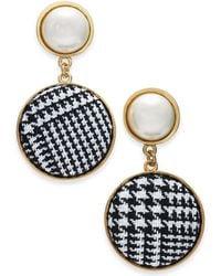 INC International Concepts - I.n.c. Gold-tone Imitation Pearl & Tweed Drop Earrings, Created For Macy's - Lyst