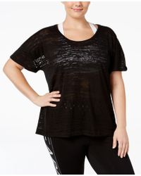 Material Girl - Active Plus Size Mesh-back Space-dyed T-shirt, Only At Macy's - Lyst