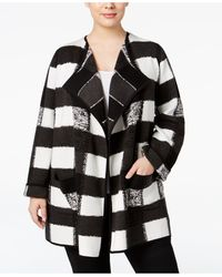 "Alfani - Plus Size Intarsia-knit ""patchwork"" Sweater Coat - Lyst"