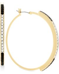 Vince Camuto - Gold-tone Clear And Jet Crystal Hoop Earrings - Lyst