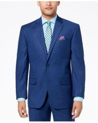 Sean John - Classic-fit Stretch Solid Blue Textured-grid Suit Jacket - Lyst