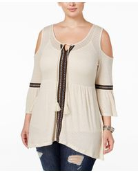 American Rag - Trendy Plus Size Cold-shoulder Peasant Top, Only At Macy's - Lyst