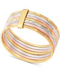 Macy's - Tricolor Stack Ring In 14k Gold, White Gold & Rose Gold - Lyst