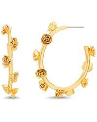 Steve Madden - Flower Lined Gold-tone Small Hoop Earrings - Lyst