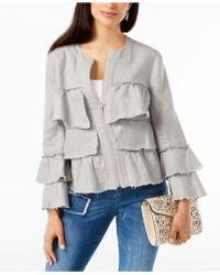 INC International Concepts - Petite Linen Ruffled Jacket - Lyst