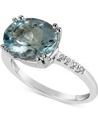 Macy's - Aquamarine (3 Ct. T.w.) & Diamond Accent Ring In 14k White Gold - Lyst