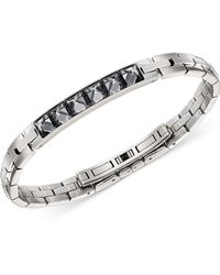 Swarovski - Stainless Steel Gray Crystal Bangle Bracelet - Lyst