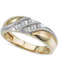 Macy's - Men's Diamond Two-tone Wedding Band (1/4 Ct. T.w.) In 14k Gold & White Gold - Lyst