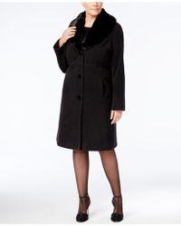 Jones New York - Plus Size Faux-fur-collar Walker Coat - Lyst