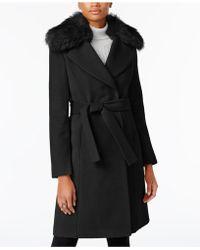 T Tahari - Plus Size Faux-fur-collar Belted Wrap Coat - Lyst