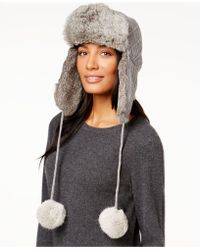 Surell | Sweater Knit And Rabbit Fur Trooper Hat | Lyst