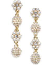Charter Club - Gold-tone Crystal & Imitation Pearl Flower & Orb Linear Drop Earrings, Created For Macy's - Lyst