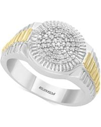 Effy Collection - Men's Diamond Two-tone Ring (1/4 Ct. T.w.) In Sterling Silver & 14k Gold - Lyst