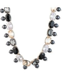 "Carolee - Gold-tone Stone, Imitation & Freshwater Pearl (5-10mm) 18"" Collar Necklace - Lyst"