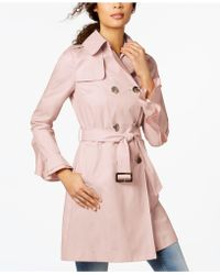 T Tahari - Ruffled-sleeve Belted Trenchcoat - Lyst