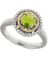 Macy's | Peridot (1 Ct. T.w.) & Diamond Accent Two-tone Ring In Sterling Silver & 14k Gold | Lyst