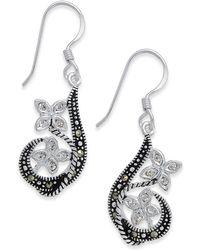 Macy's - Marcasite & Crystal Flower Drop Earrings In Fine Silver-plate - Lyst