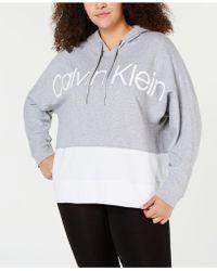 c067d71e6daa9 Calvin Klein - Performance Plus Size Colorblocked Metallic-logo  Dolman-sleeve Hoodie - Lyst