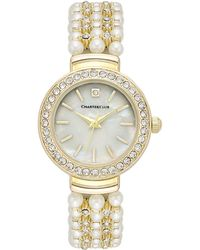 Charter Club - Women's Crystal Gold-tone Imitation Pearl Bracelet Watch 28mm - Lyst