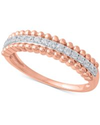 Macy's - Diamond Beaded Style Band (1/4 Ct. T.w.) In 14k Rose Gold - Lyst