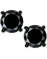 Macy's - Men's Black Diamond Stud Earrings In Stainless Steel (2 Ct. T.w.) - Lyst