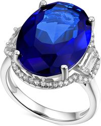 Macy's - Simulated Sapphire And Cubic Zirconia Statement Ring In Sterling Silver - Lyst