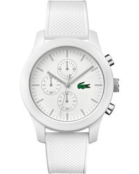 Lacoste - Men's Chronograph 12.12 White Silicone Strap Watch 44mm 2010823 - Lyst