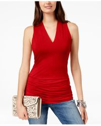 INC International Concepts - Ruched V-neck Top - Lyst