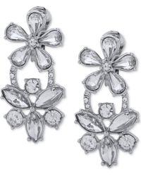 Anne Klein - Rose Gold-tone Crystal Flower Clip-on Double Drop Earrings - Lyst