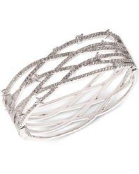 Carolee - Silver-tone Pavé Openwork Cuff Bracelet - Lyst