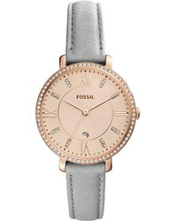 Fossil - Women's Jacqueline Gray Leather Strap Watch 36mm - Lyst