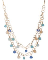 "Lonna & Lilly - Gold-tone Stone Double-layer 32"" Statement Necklace - Lyst"
