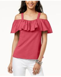 INC International Concepts - I.n.c. Petite Cold-shoulder Ruffle Top, Created For Macy's - Lyst